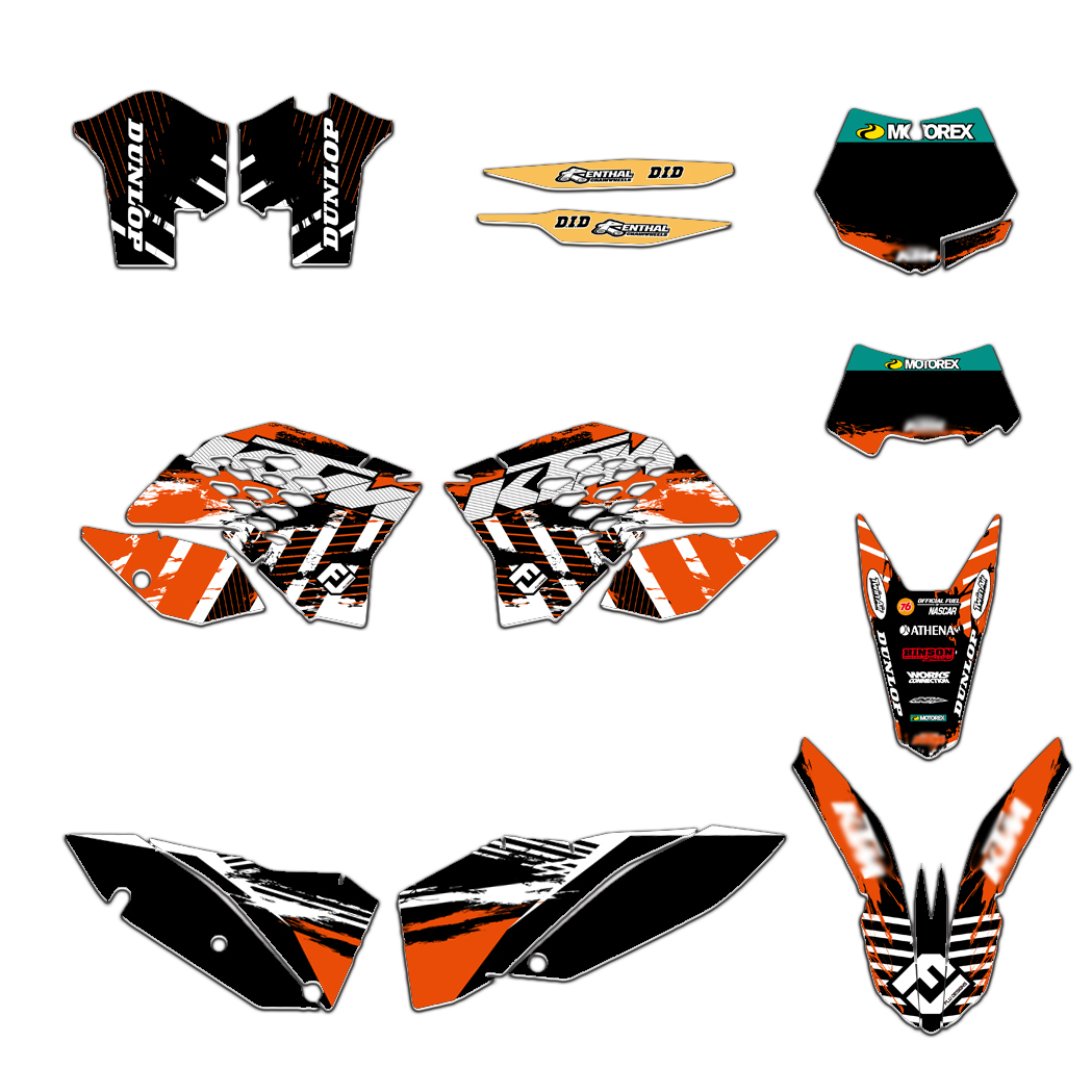 NEW TEAM GRAPHICS BACKGROUNDS STICKERS DECLAS FIT FOR KTM EXC XCF 125 250 300 450 530 2008-2010 EXC 450/530 2011