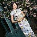 Cheongsams summer  style long heavy silk dress seven cent sleeve original Shanghai improved temperament skirt