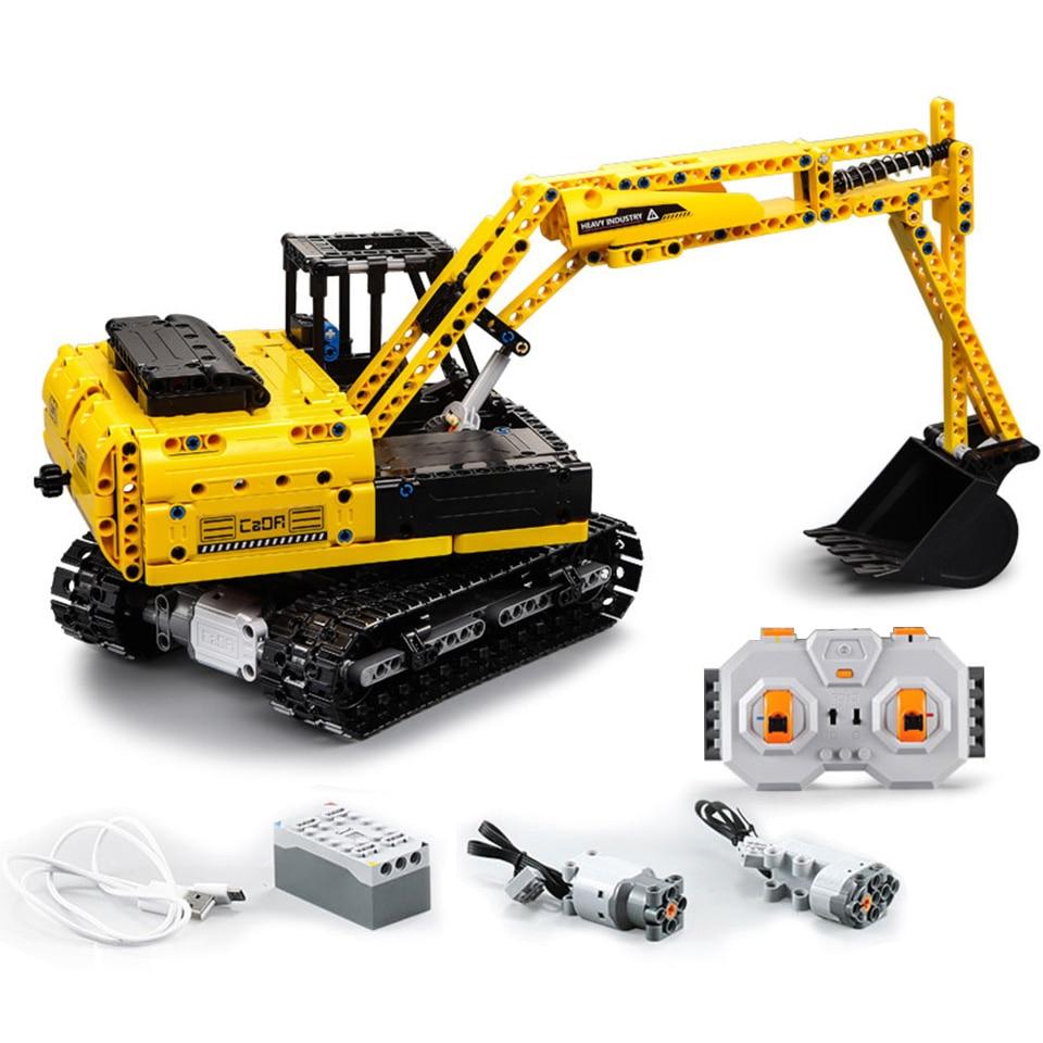 CADA RC Excavator ใช้งานร่วมกับ Legoing Technic รถบรรทุกอาคารบล็อกเด็กวันเกิดของขวัญ Remote Controrlled ของเล่นเด็ก-ใน บล็อก จาก ของเล่นและงานอดิเรก บน   1