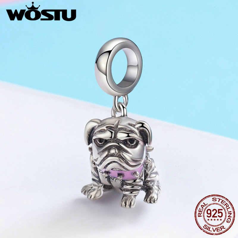 WOSTU 925 เงินสเตอร์ลิงภาษาอังกฤษ Bulldog สัตว์ลูกปัดสร้อยข้อมือสำหรับผู้หญิงแฟชั่นเครื่องประดับของขวัญ DXC552