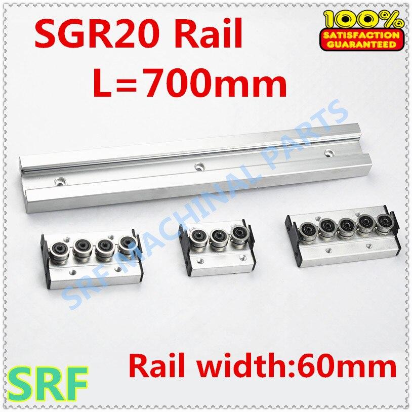 Type carré rouleau de rail de guidage linéaire SGR20 rouleau glissière L = 700mm + 1 pièces SGR20 roue bloc coulissant