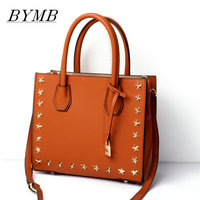 100 Genuine Leather Tote Bag Messenger Bags Famous Brands Tote Bag Bolsas Ladies Hand Bags Rivet