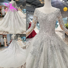 AIJINGYU Nova Wedding Dress Couture Bridal Gowns Country Tulle Long Woman 2021 Customs Newest Gown Hijab Satin Wedding Dresses
