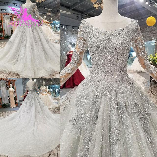 Aijingyuノヴァウェディングドレスクチュールブライダルガウン国チュールロング女性2021税関最新ガウンヒジャーブサテンのウェディングドレス