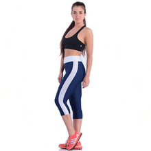 US Lady Splice sports Leggings black gray patchwork big size High waist Elastic slim women Gym active pants