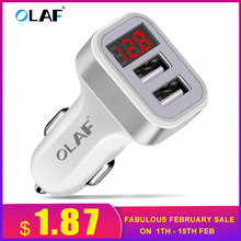 Olaf Car Charger Digital Display 2 1A Dual Port USB Charger Adapter for iPhone Samsung Xiaomi Huawei P20 lite USB Phone Charging cheap LG Apple ZTE SONY xiaomi Motorola Other HTC Meizu Huawei Lenovo Samsung Universal RoHS CE PCT CCC USB Car Charger USB Car Lighter Slot