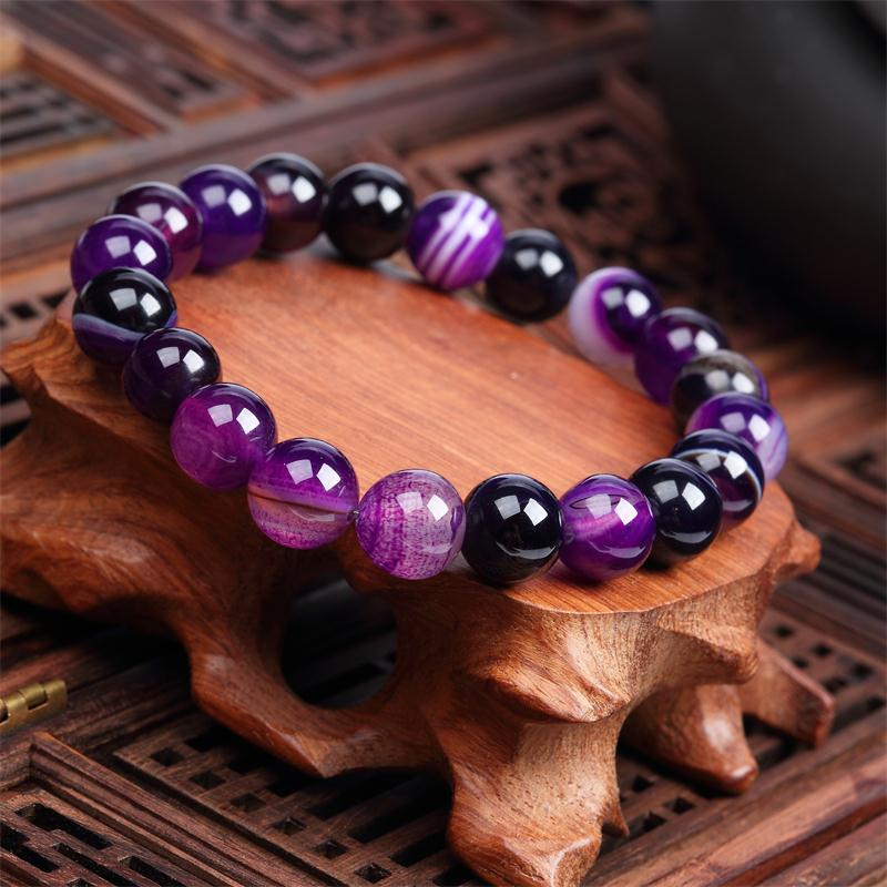 Meajoe Trendy Natural Stone Love Purple Bead Bracelet Vintage Charm Round Chain Beads Bracelets Jewelry For