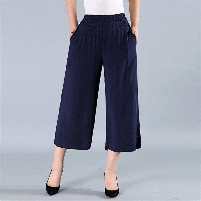6 Color Women   Wide     Leg     Pant   Casual Loose Ankle-Length   Pants   Streetwear Pocket Females Elastic Waist Trousers Plus Size M-7XL