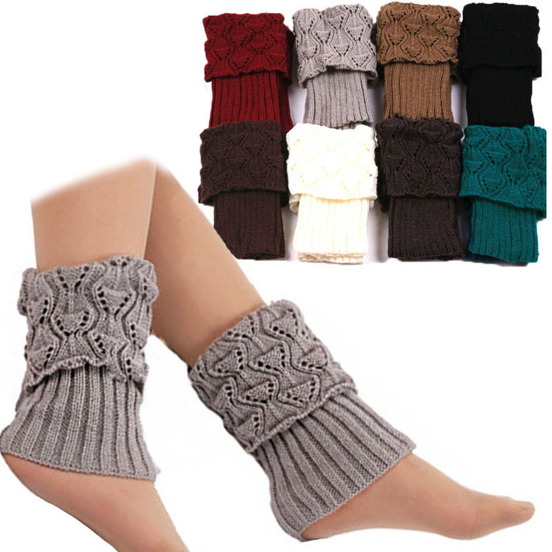 1 Pair Women Crochet Boot Cuffs Knit Toppers Boot Socks Winter Leg Warmers Calcetines Mujer