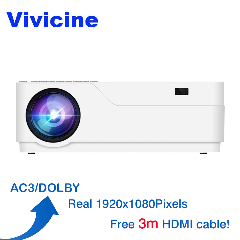 Vivicine M18 1080p LED Projector, Optional Android 7.1 HDMI USB PC Full HD Home Multimedia Video Game Projector Proyector Beamer