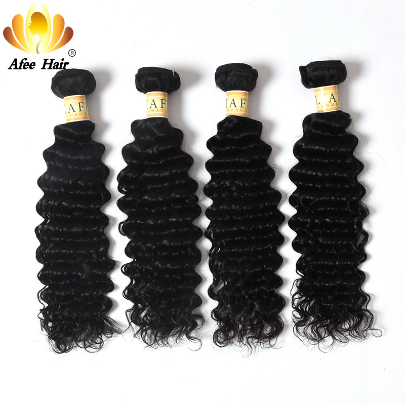 Aliafee Hair 4 csomópontok Deep Wave Brazil hajszöveti csomagok - Emberi haj (fekete)