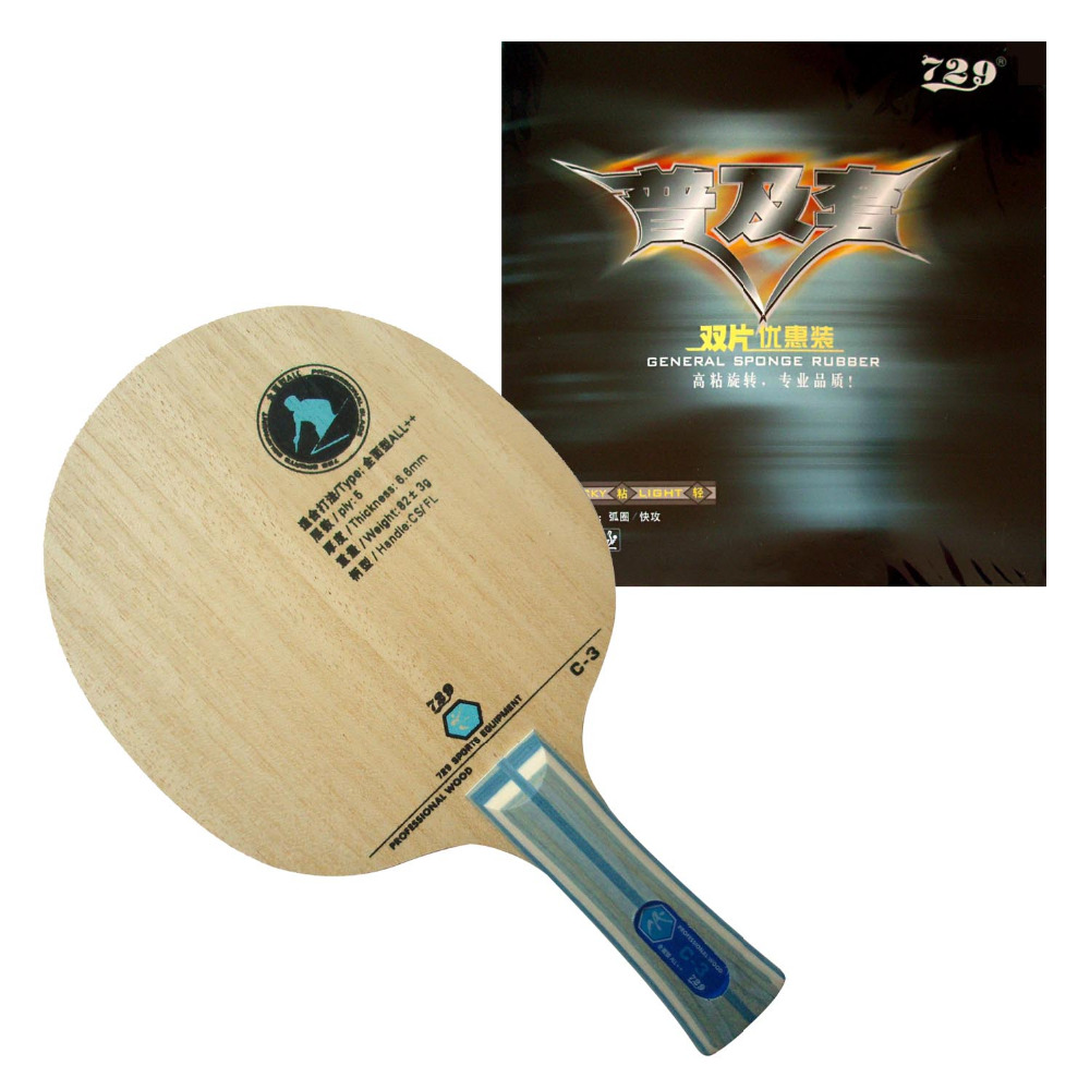 Pro Table Tennis PingPong Combo Racket RITC729 C-3 Blade with 2x General Rubbers Shakehand long handle FL цена