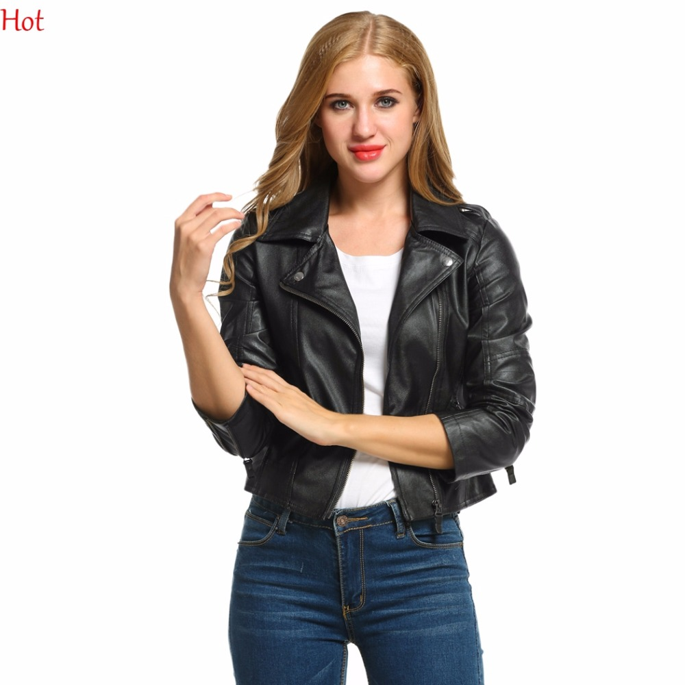 Autumn Spring Fashion Women  Synthetic Zipper Leather Jacket Short Slim Coat Motorcycle Ladies Outwear Black Jackets SV006097 plus size women in leather