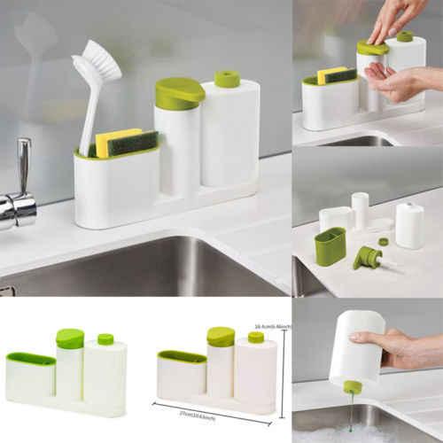 Kitchen Bathroom Sink Caddy Organizer Holder Soap Dispenser Pump Tool 3 In 1 Set Makeup Organizers Aliexpress