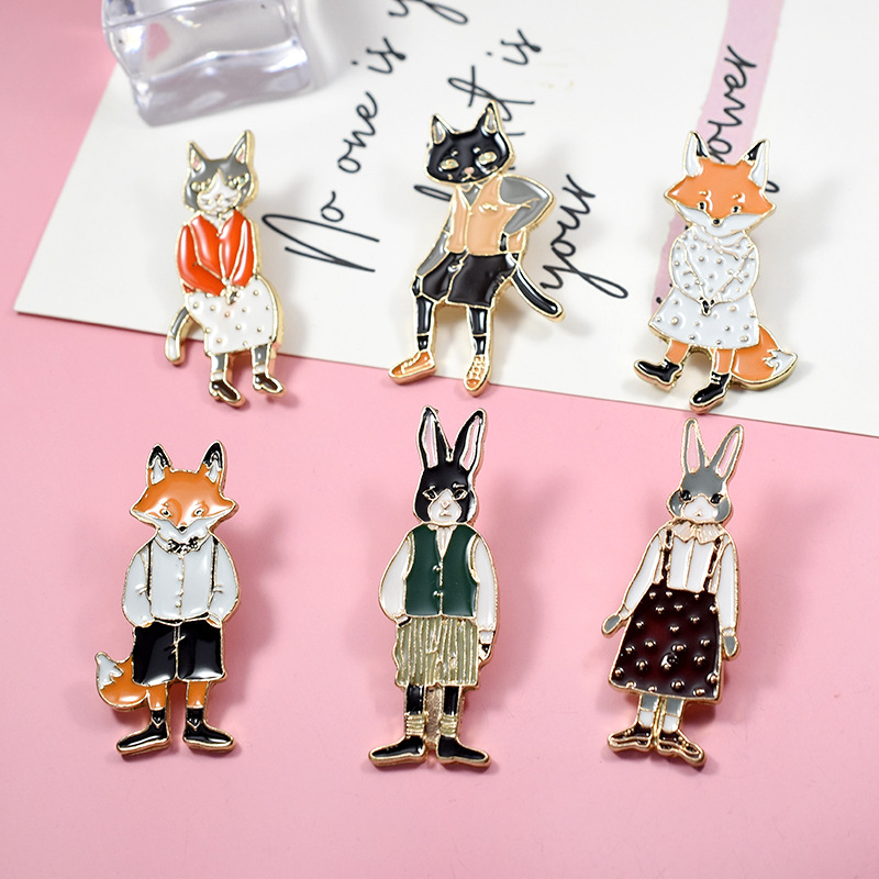 Jewelry Sets & More 2019 Latest Design Dhl Free Shipping,wholesale 30pcs Jewelry Pins Brooches Rabbit Fox Cat Couple Enamel Pin Badges Hat Backpack Accessories Lover Complete Range Of Articles