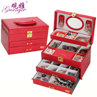 Guanya Quick Shipping Low Price High Quality 4 Layers Leather Jewelry Box With Large Space Jewlelry