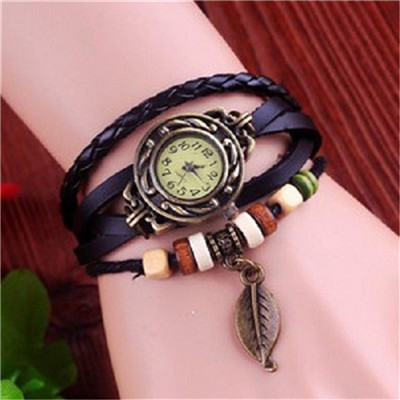 High Quality Vintage Leaf Pendant Genuine Cow Leather Watches Women Ladies Dress Quartz Wrist Watch Relogio Feminino kow002