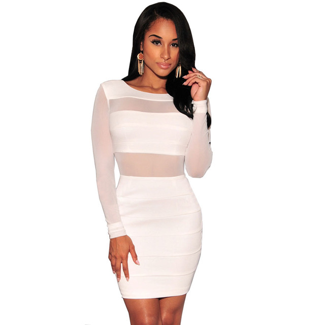 6c71a1b625 2016 New Novelty Long Sleeve Sexy Party Dresses Women Backless Bodycon  Bandage Dress Hollow Out Black