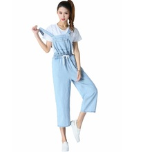 a8337585ce21 Ejqyhqr New Arrival Elastic Waist Denim Jumpsuits Women Casual Stretch Romper  Ladies Denim Loose Overalls Ankle
