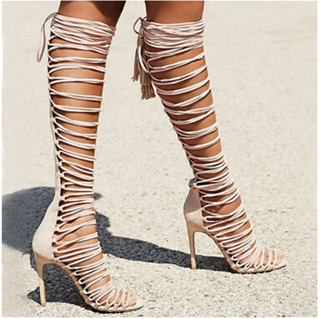 Summer New Style Strappy Sandals Boots High Heels Gladiator Knee ...