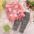 2016 Осень Девушки Одежда детская Одежда Устанавливает Милый Ребенок Цветочные Рубашки Клетчатые Брюки Детская Одежда Девушки детская Одежда