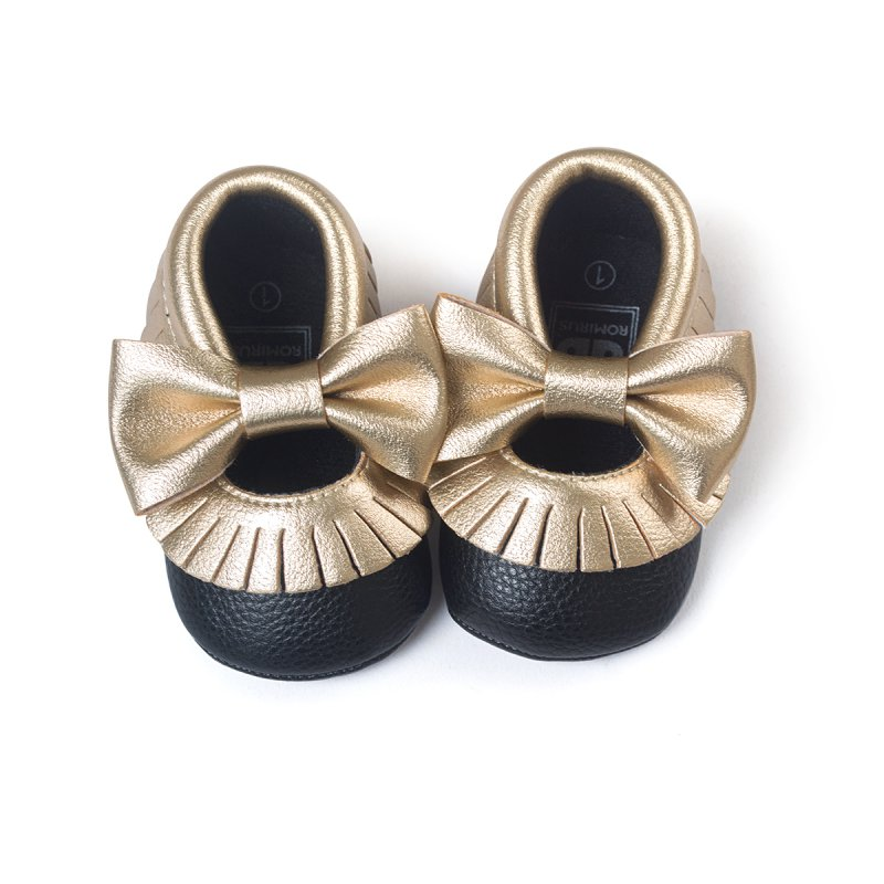 Cute Tassel Baby Shoes Bowknot Soft PU Leather Toddler Shoes Infant First Walkers 0-18M L07