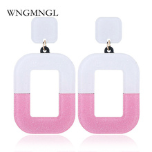 WNGMNGL 2018 New Candy Color Square Acrylic Drop Earrings For Girls Vintage Big Dangle Women Jewelry Birthday Gift