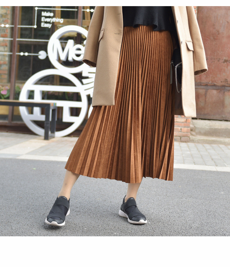 19 Two Layer Autumn Winter Women Suede Skirt Long Pleated Skirts Womens Saias Midi Faldas Vintage Women Midi Skirt 48