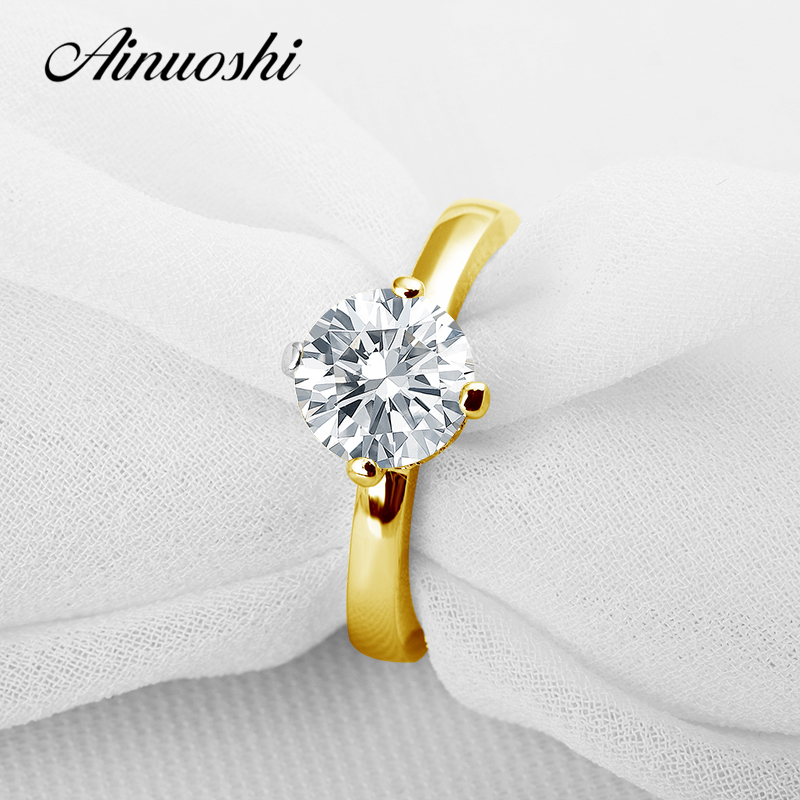 AINUOSHI 10k Solid Yellow Solid Gold Women Engagemnet Ring Classic Round Cut Simulated Diamond Jewelry 1.5 ct Lady Wedding Rings цена