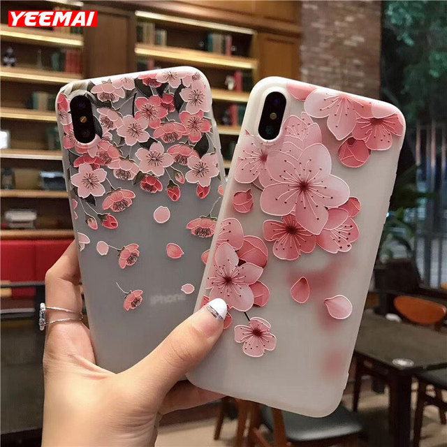 Romance Cherry Blossom Flower Phone Case For iPhone 7 6S X 8 6 Plus 5 5S SE Soft TPU Pink Sakura Rose Flower Back Cover Capa