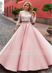 Image 2 - Fashionable Satin Jewel Neckline A Line Two piece Wedding Dress With Lace Appliques Pink 3/4 Sleeves Bridal Dresses