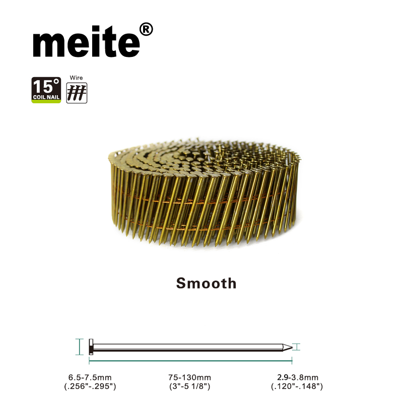 Meite Coil Nails Smooth Type Yellow Coating In Wire Diameter 2.9-3.8mm, By Length 75-130mm For Cn80b/cn90/cn100/cn100b/ Cn130