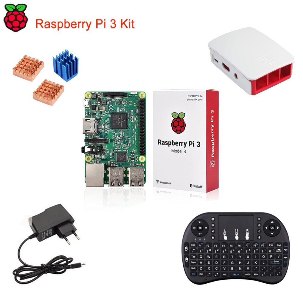 Raspberry Pi 3 Model B Starter Kits With Original Pi 3 Model B+Mini i8 Wireless Keyboard+Pi 3 Case+Power Adapter+Heatsinks