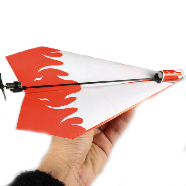 1 Pc Kid DIY Classic Education Flying Power Up Paper Plane Electric Airplane Conversion Model Kit Gifts Toys For Children Create