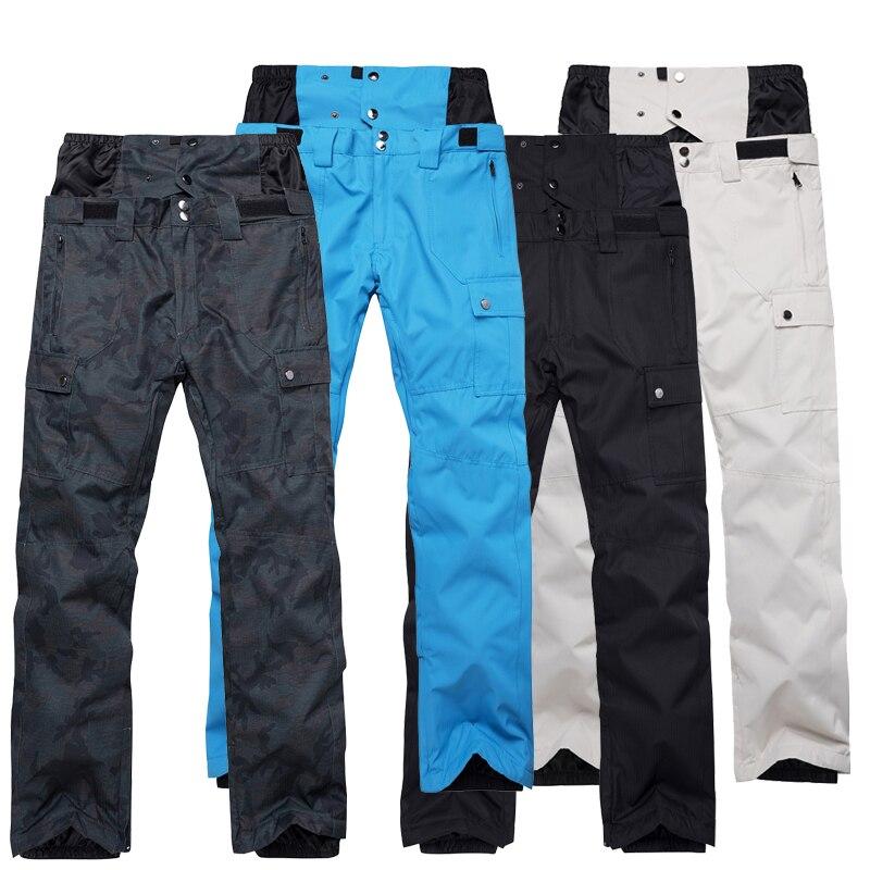 2018 Hiver Taille Haute Pantalon de Ski Hommes Coupe-Vent Imperméable Thermique Homme de Neige Pantalon Bib Jarretelles Mâle Snowboard Pantalon Vêtements de Ski - 2