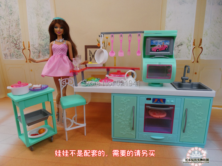 Speelgoed Keuken Accessoires Plastic : Toy Barbie Doll Kitchen Furniture