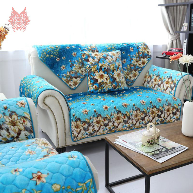 Perfect Free Ship American Style Blue Floral Print Quilting Sofa Cover Soft Plush  Slipcovers Winter Canape For