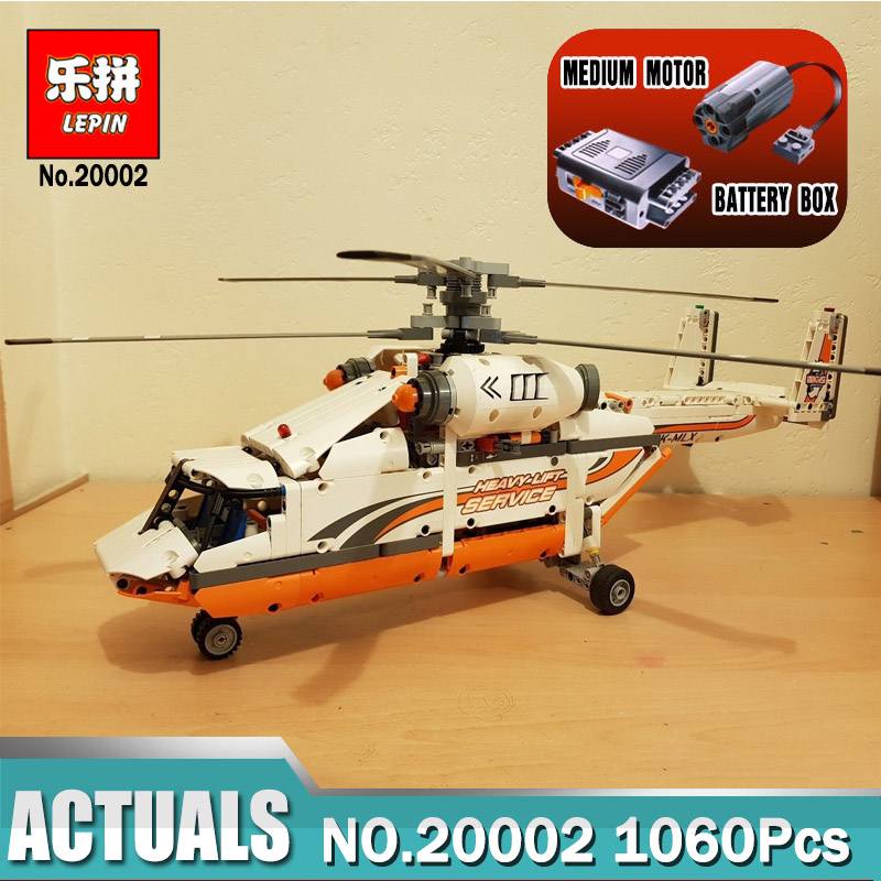 Lepin 20002 Heavy Lift Helicopter Technic Plane Compatible Legoing 42052 Technic Building Bricks Blocks Toys for Children Boy new lepin 20002 technology series mechanical group high load helicopter blocks compatible with 42052 boy assembling toys