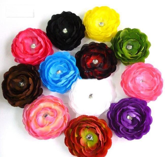 480 шт. камелии цветок пиона банты для волос Детские зажим для девочек атласные шелковые цветы заколки для волос tryty