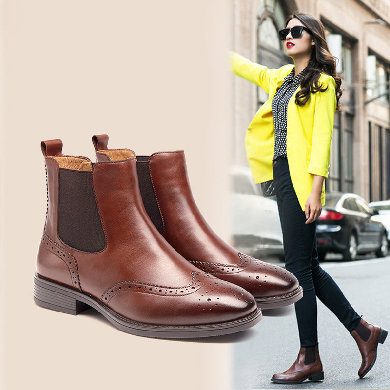 ФОТО British Women's Chelsea Boots Winter Warm Martin Boots For Women Square Toe Genuine Leather Woman Ankle Shoe Short Boot Boots