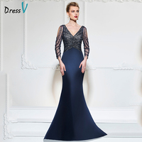 Dressv Dark Navy Mermaid Long Evening Dress V Neck 3 4 Sleeves Button Wedding Party Formal