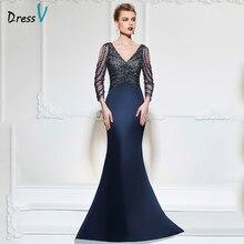 Dressv Donkerblauw Mermaid Lange Avondjurk V hals 3/4 Mouwen Button Wedding Party Formele Gowns Jurk Pailletten Avondjurken