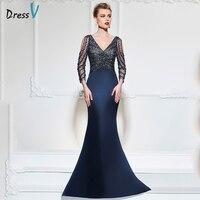 Dressv Dark Navy Mermaid Long Evening Dress V Neck 3 4 Sleeves Button Wedding Party Formal