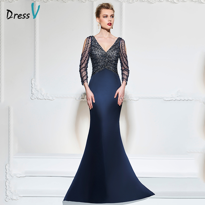 dressv dark navy mermaid long evening dress v neck 34 sleeves button wedding party formal gowns dress sequins evening dresses