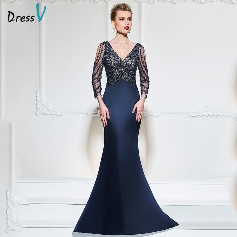 Vestido sirena azul oscuro sirena vestido de noche largo con cuello - Vestidos para ocasiones especiales