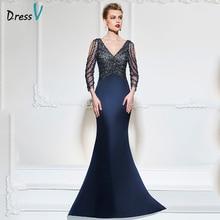 Dressv foncé marine sirène longue robe de soirée col v manches 3/4 bouton de noce robes formelles robe paillettes robes de soirée