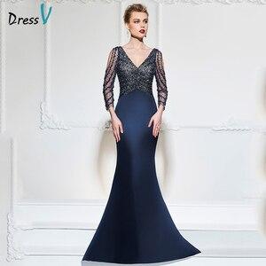 Image 1 - Dressv dark navy mermaid long evening dress v neck 3/4 sleeves button wedding party formal gowns dress sequins evening dresses