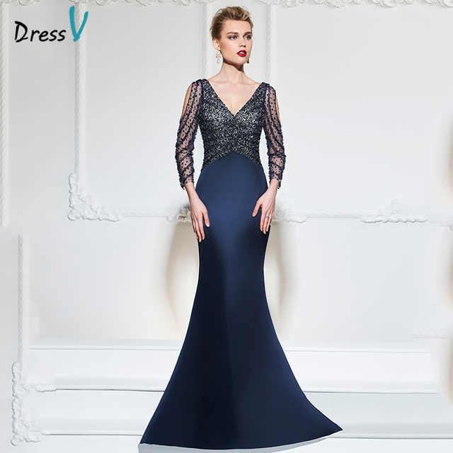 Dressv dark navy mermaid long evening dress v neck 3/4 sleeves button wedding party formal gowns dress sequins evening dresses