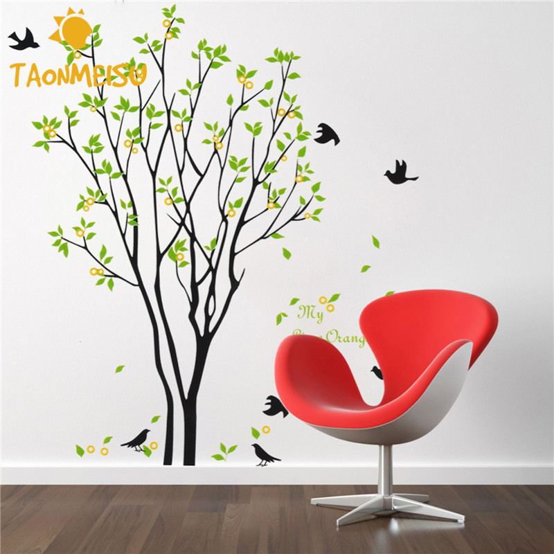 home decor diy wall sticker living room wall covering tree self adhesive wall poster tree birds. Black Bedroom Furniture Sets. Home Design Ideas