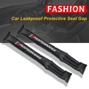 Image 1 - 1Pcs Carbon Fiber Lekvrij Beschermende Seat Gap Auto Cover Pad Voor Bmw M Power Prestaties M3 M5 X1 X3 x5 X6 E46 E39 E36